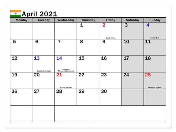 April 2021 Calendar with Holidays India