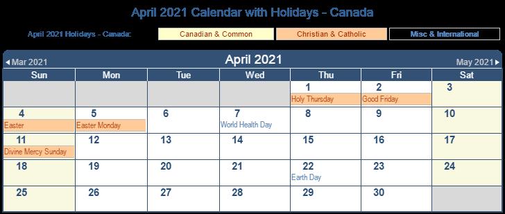 April 2021 Canada Holidays Calendar