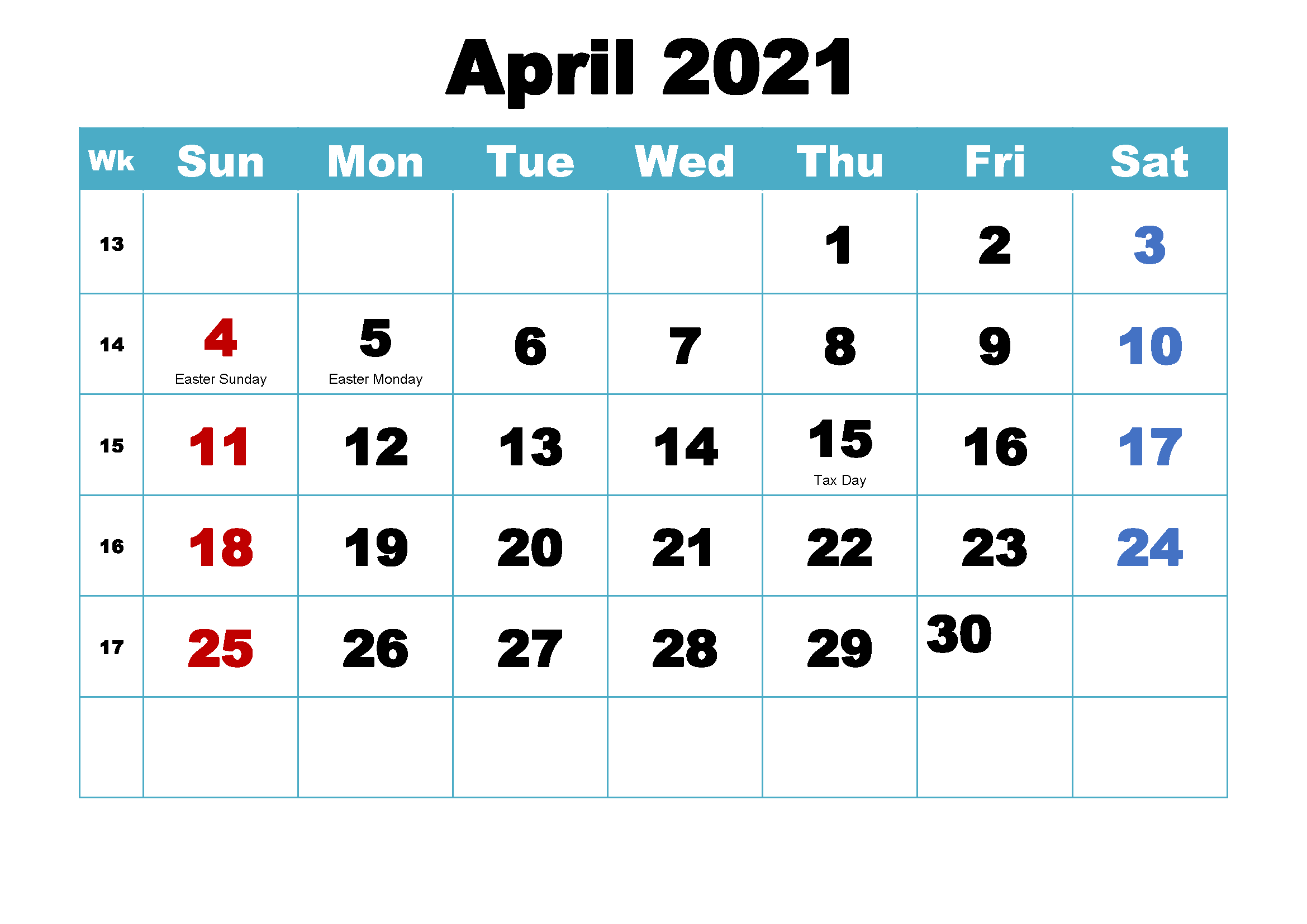 April 2021 Holidays Calendar