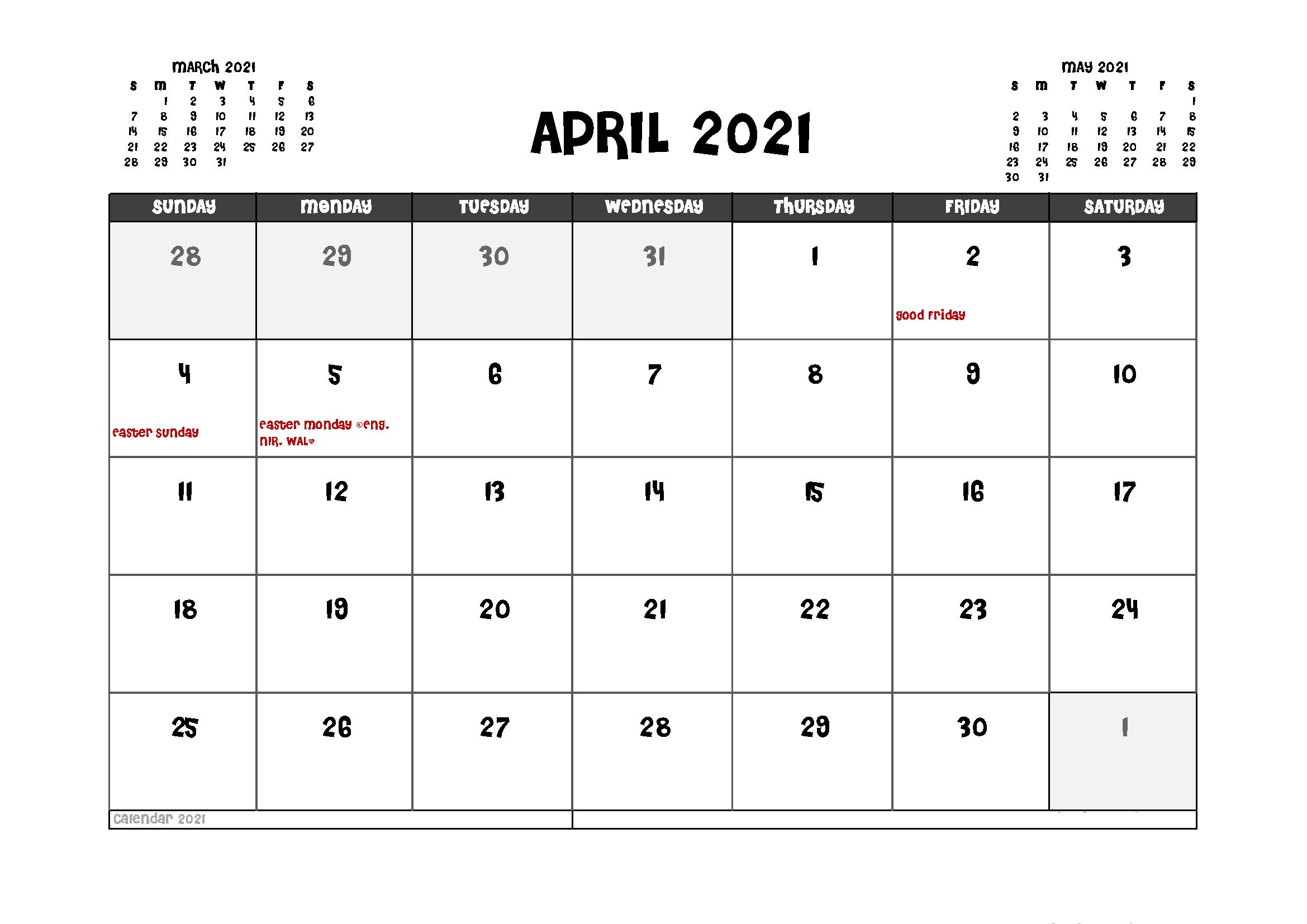 April 2021 Local Holidays Calendar