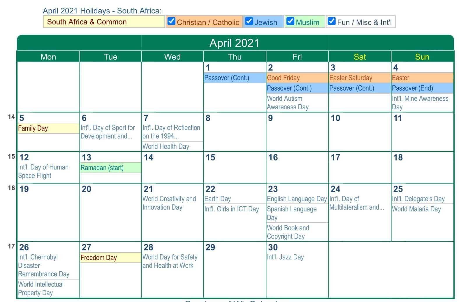 April 2021 South Africa Holidays Calendar