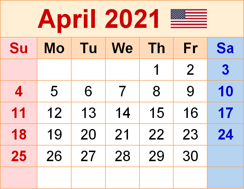 April 2021 USA Holidays Calendar