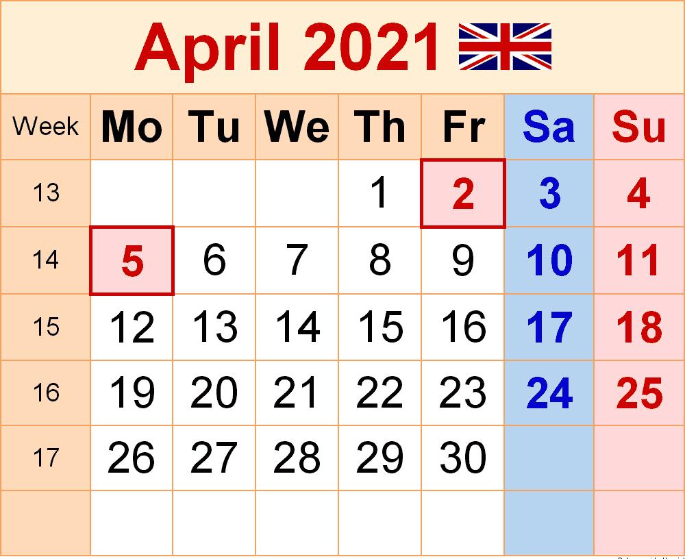 April 2021 United Kingdom Holidays Calendar