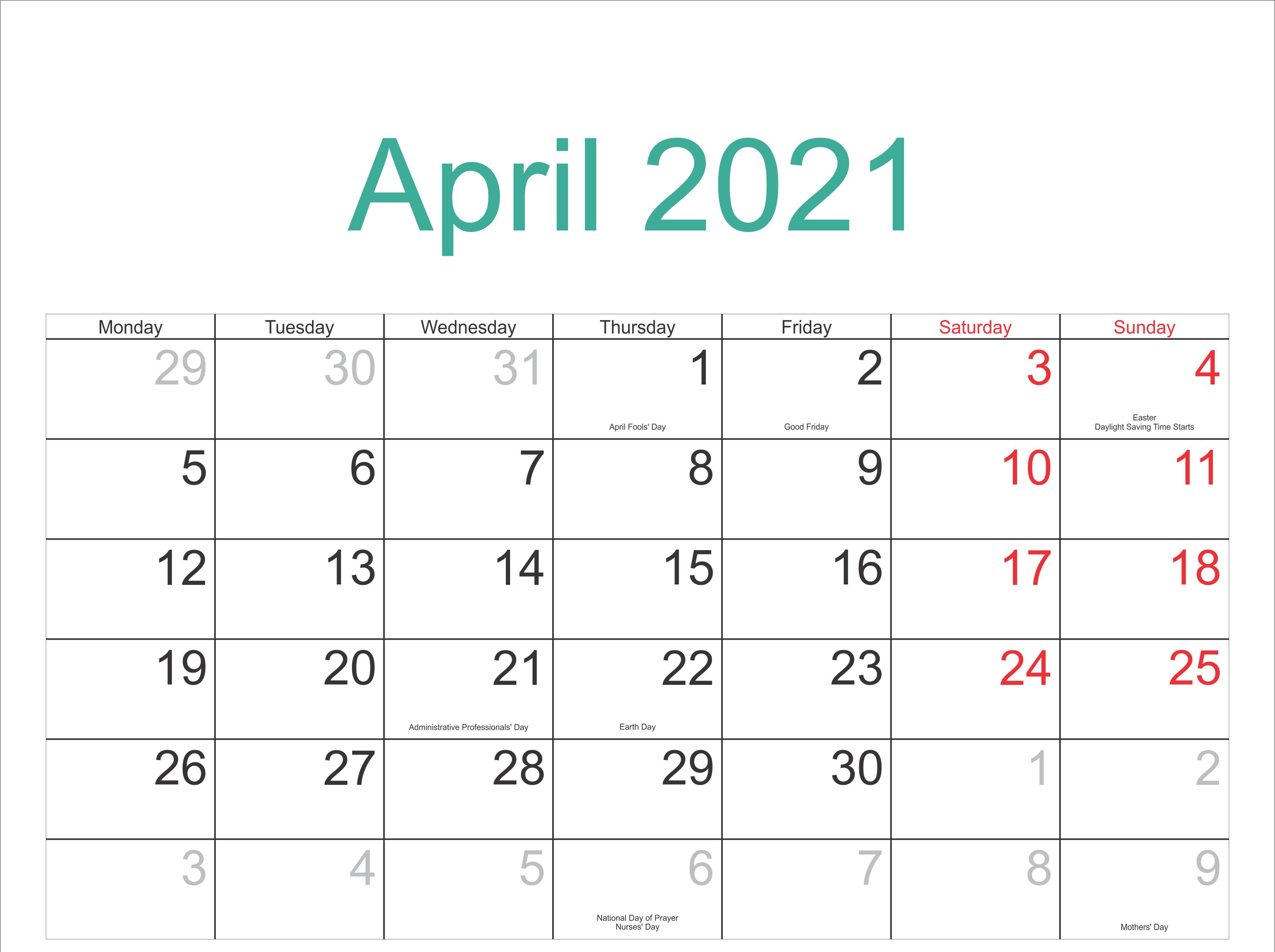 April Holidays 2021 Calendar