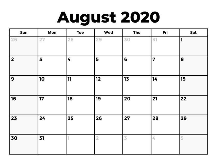 August 2020 Calendar Blank
