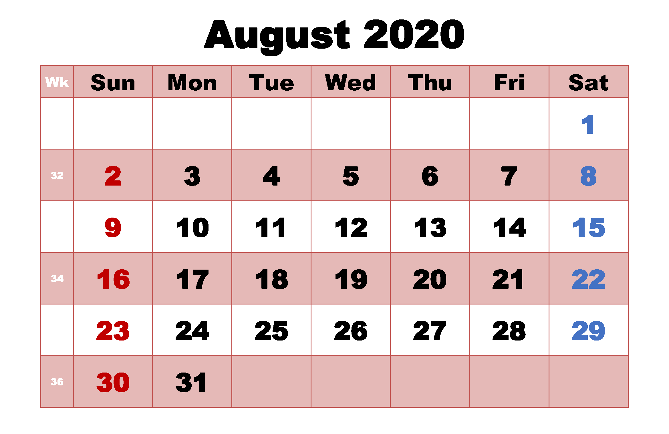 August 2020 Monthly Calendar Template