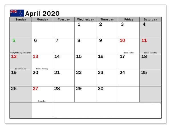 Australia Holidays Calendar April 2020