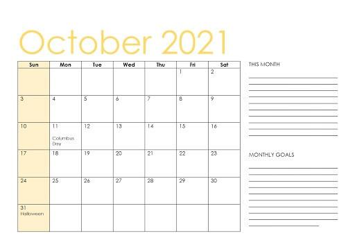 Blank Calendar for October 2021