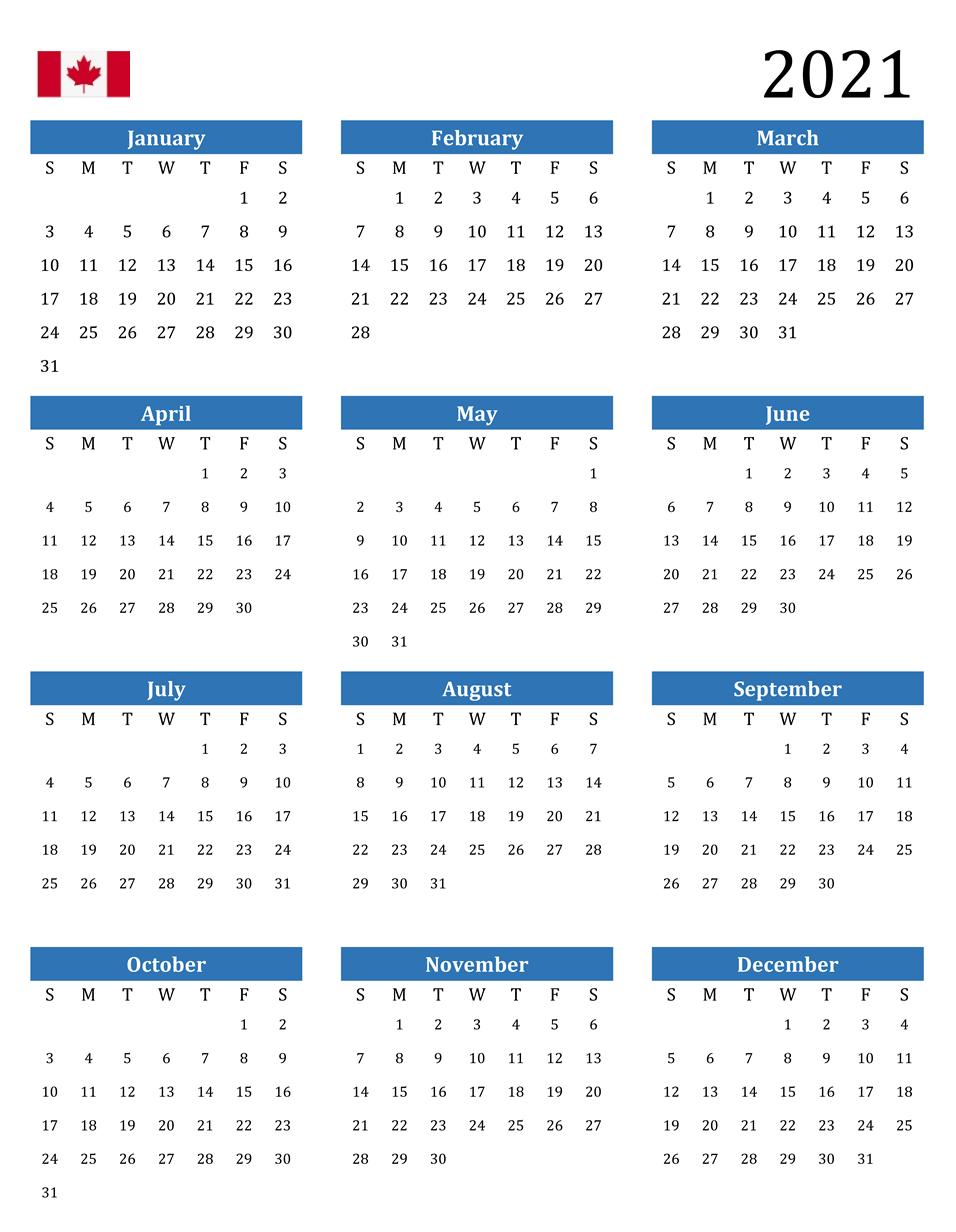 Canada 2021 12 Month Calendar