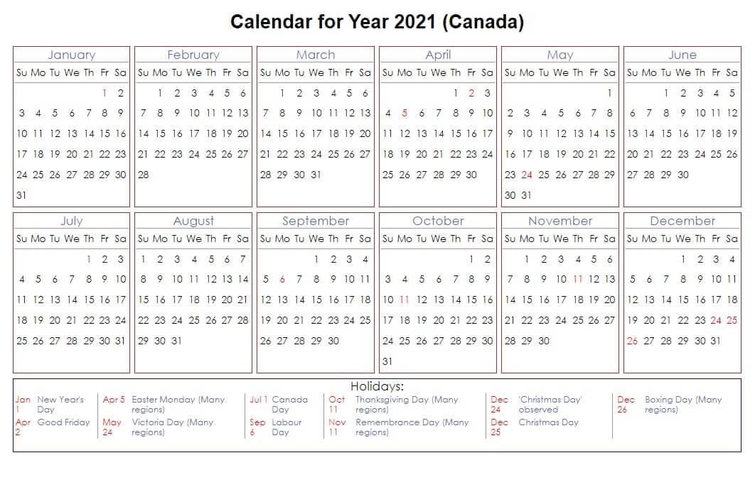 Canada 2021 Calendar with Holidays