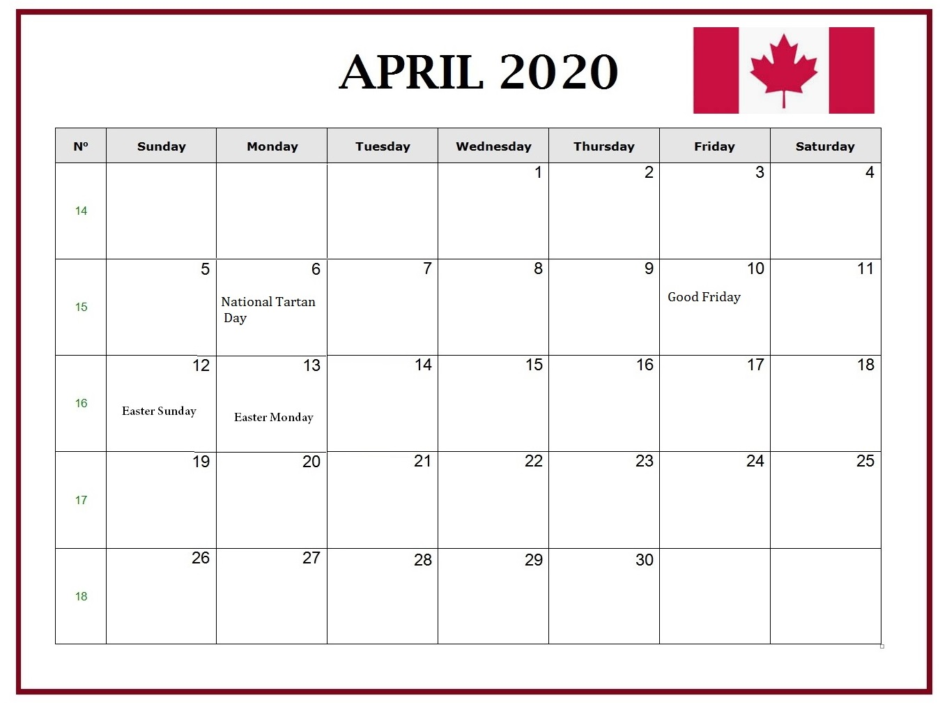 Canada April 2020 Federal Holidays Calendar