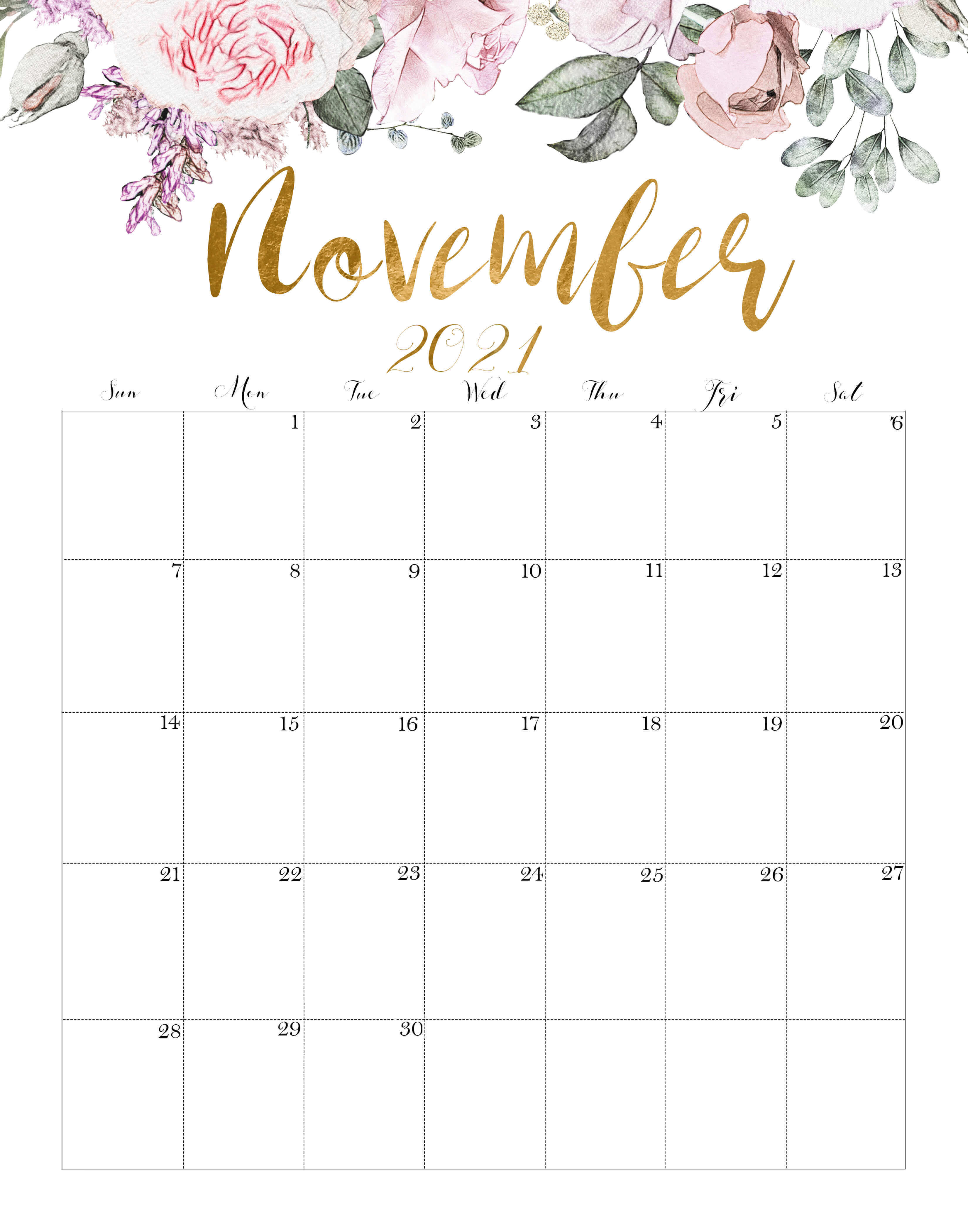 Cute November 2021 Calendar Floral