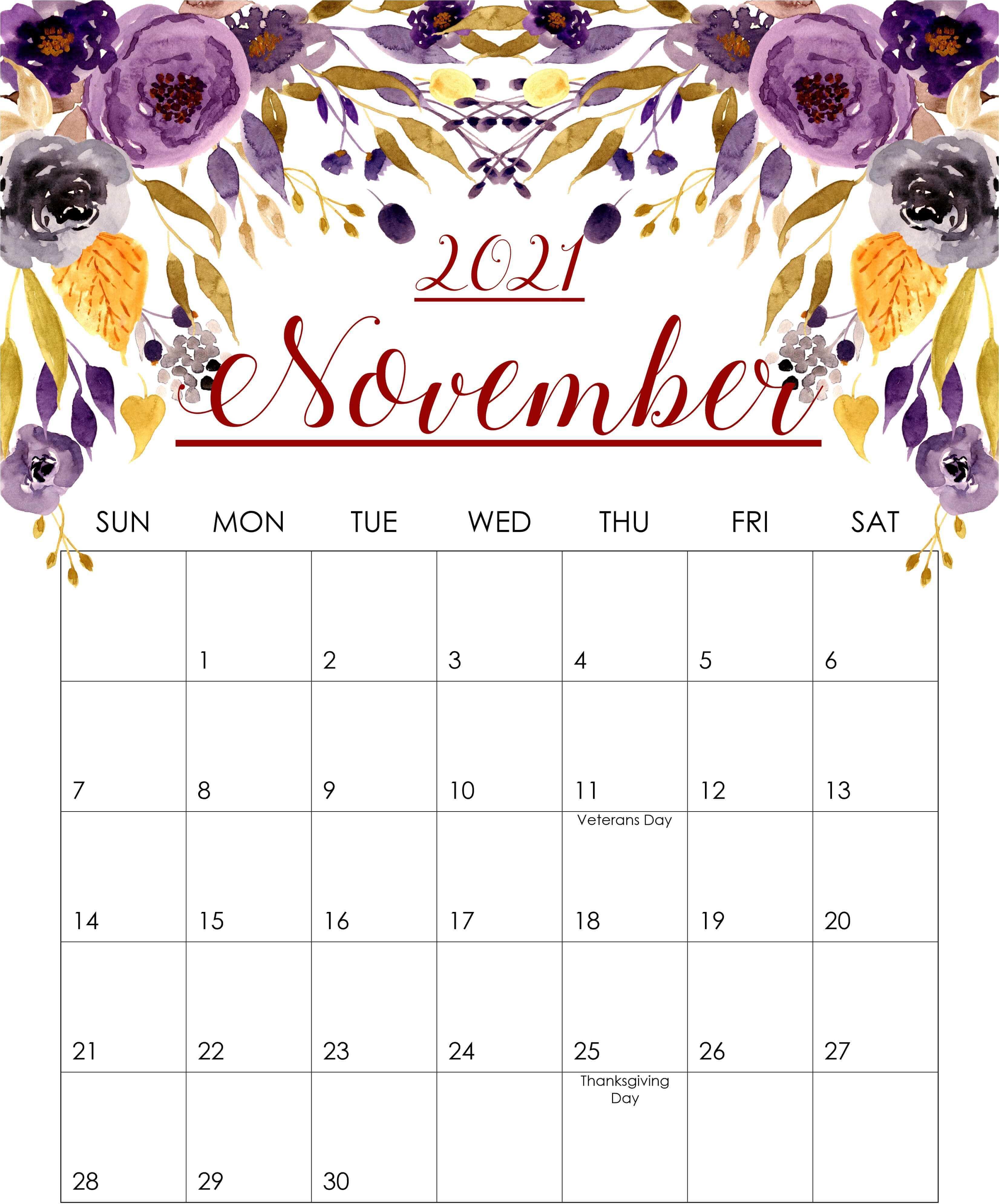 Cute November 2021 Calendar Template