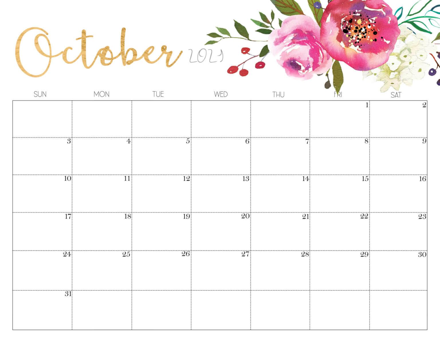 Cute October 2021 Desk Calendar