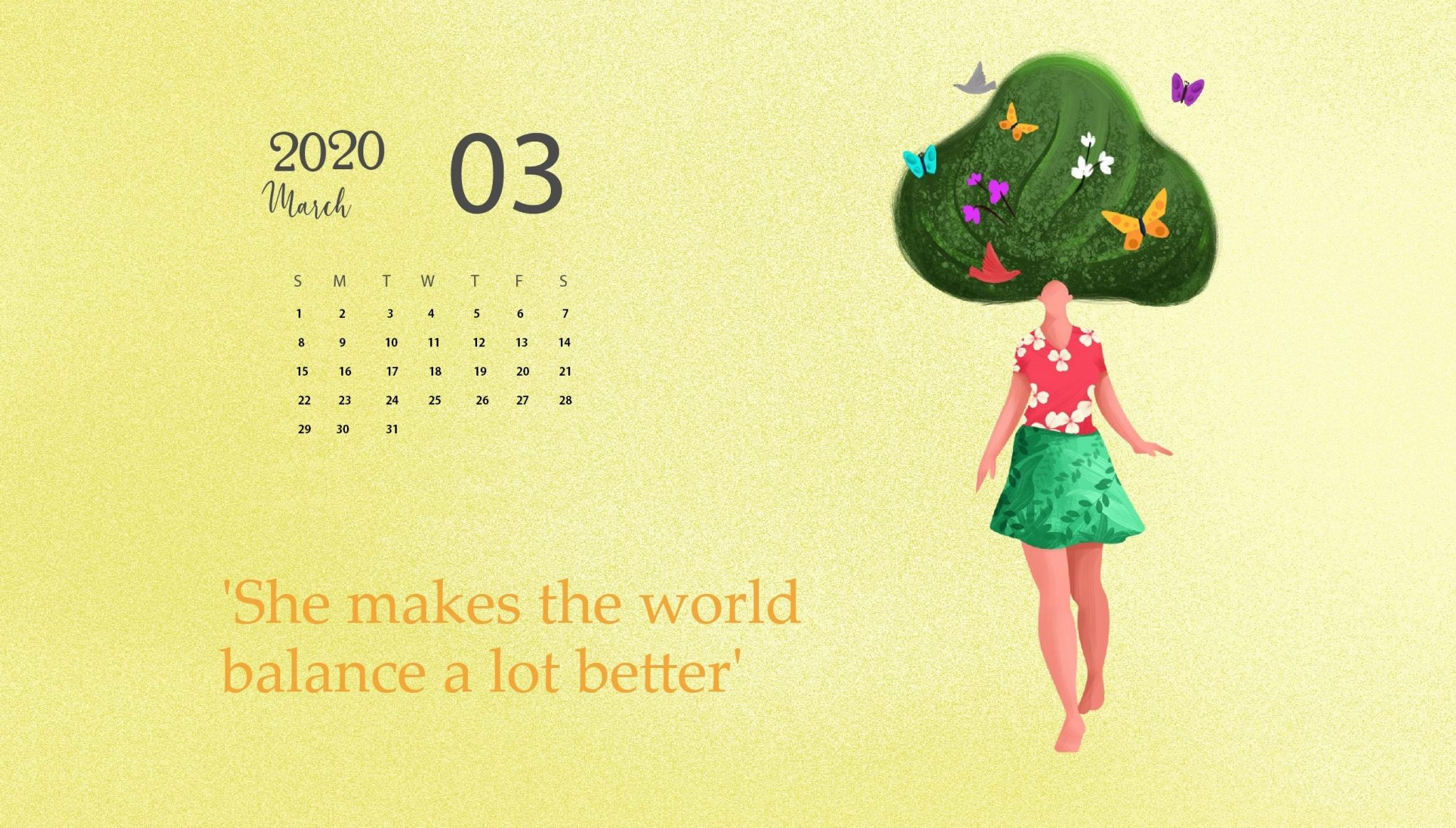 Desktop Calendar Wallpaper March 2020