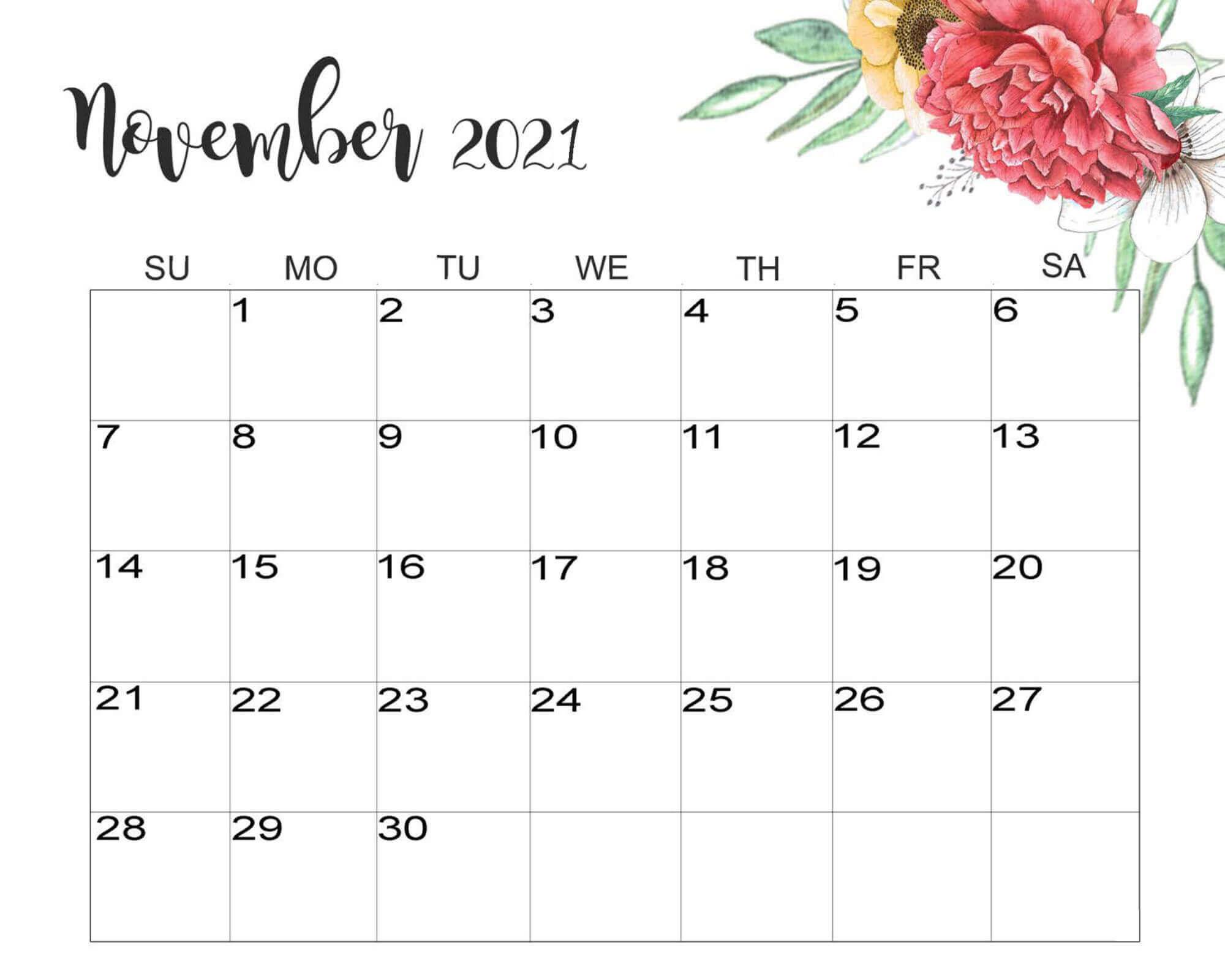 Floral November 2021 Calendar Cute