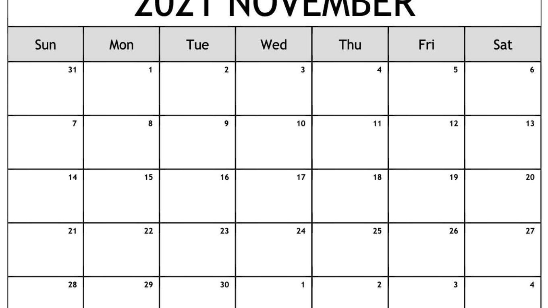 Free Printable November 2021 Blank Calendar