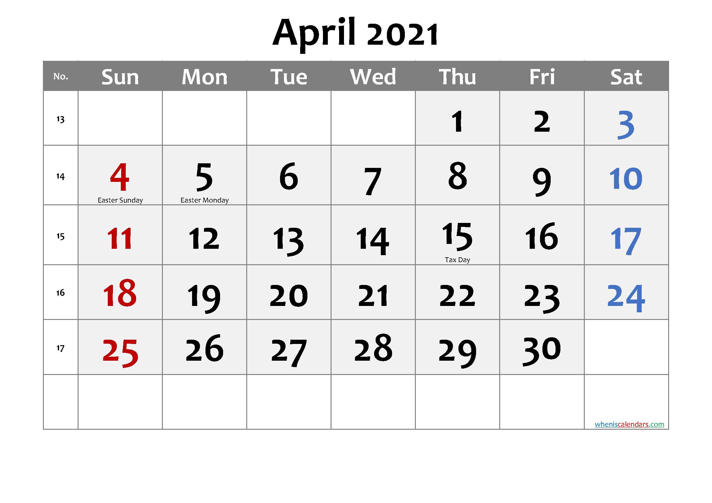 Holidays Calendar April 2021