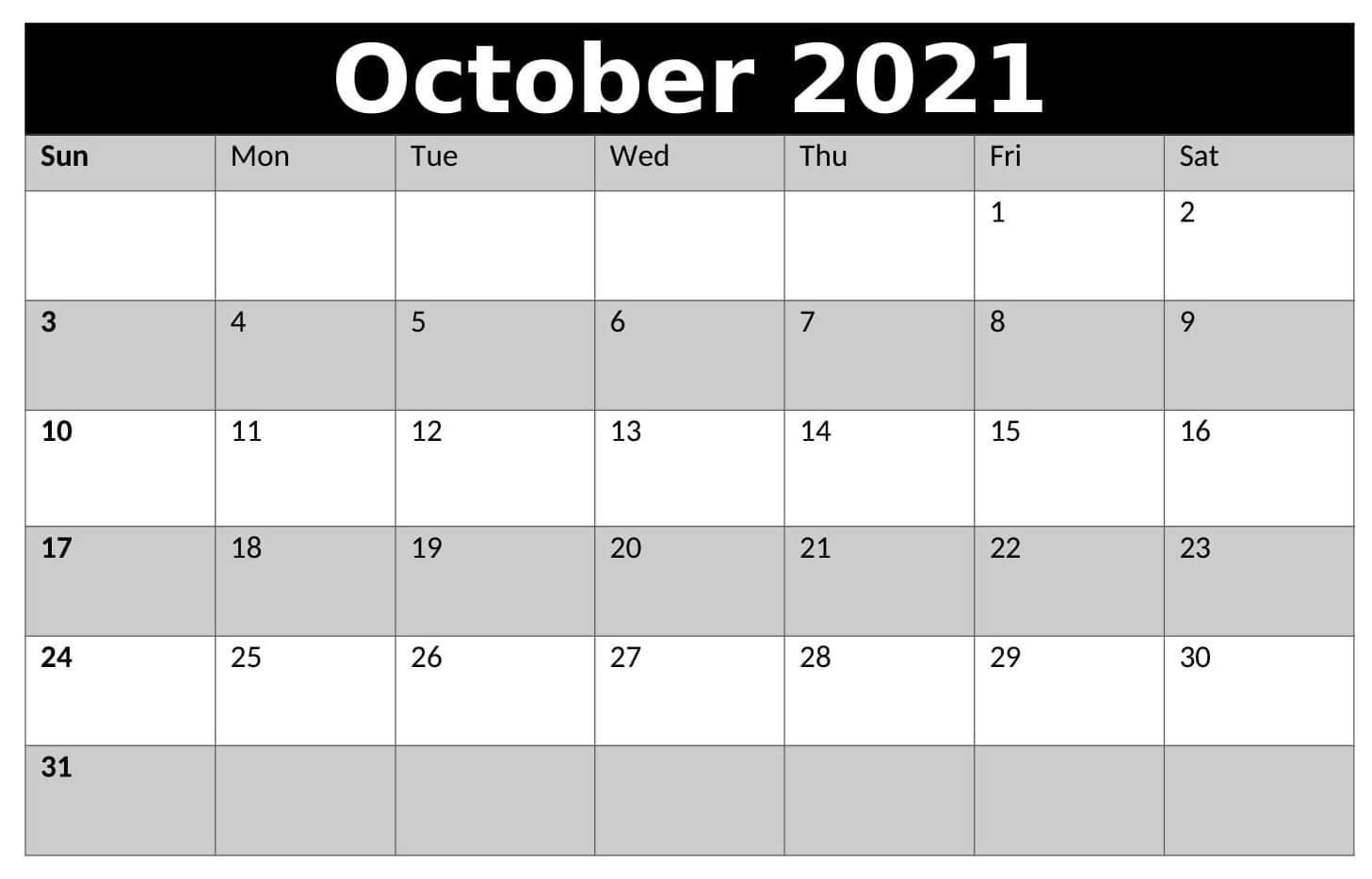 Monthly Blank Calendar For October 2021