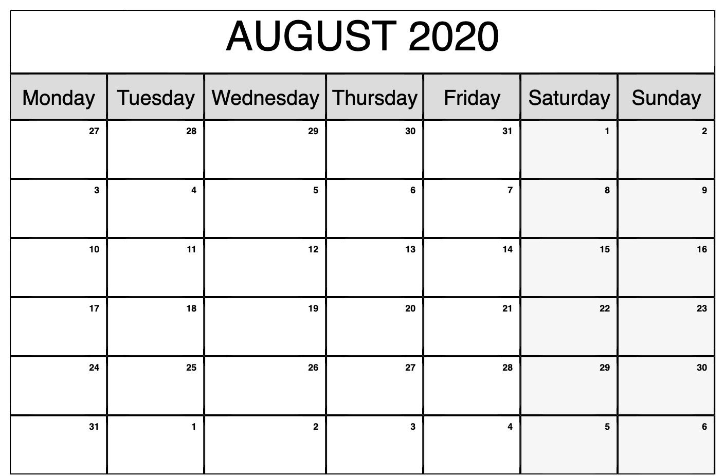 Monthly Calendar Template August 2020