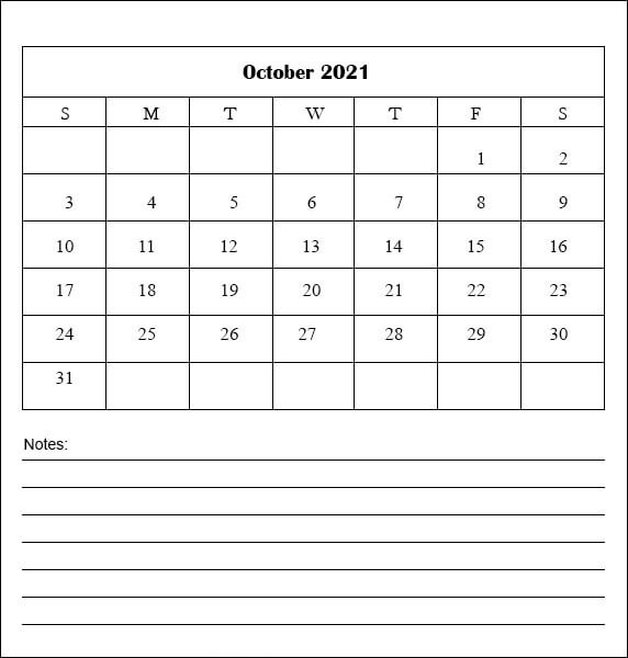 Monthly October 2021 Calendar With Notes