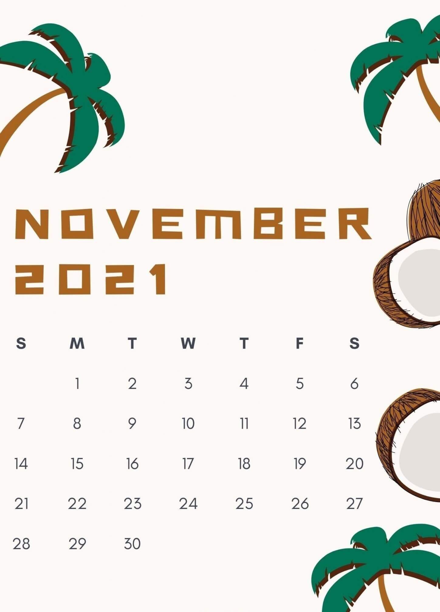 November 2021 iphone Calendar Wallpaper