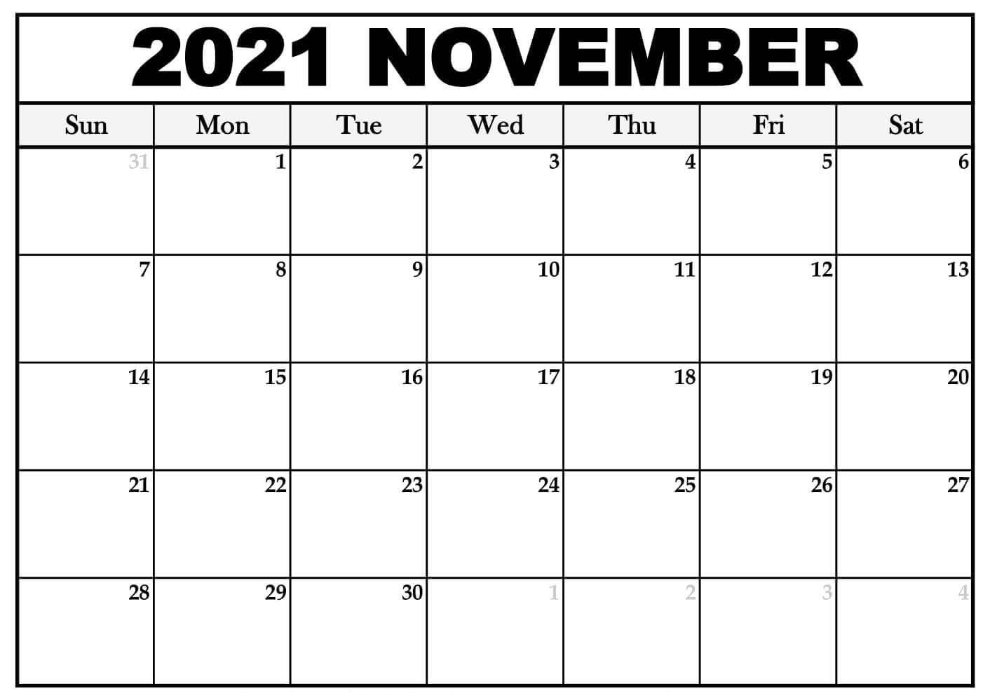 November Calendar 2021 Template