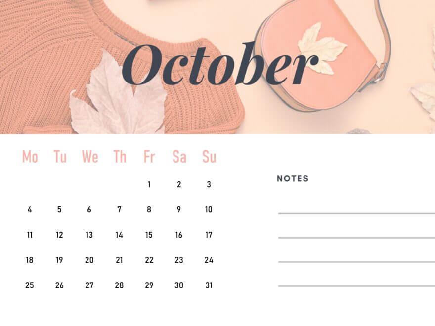 October 2021 Calendar Word