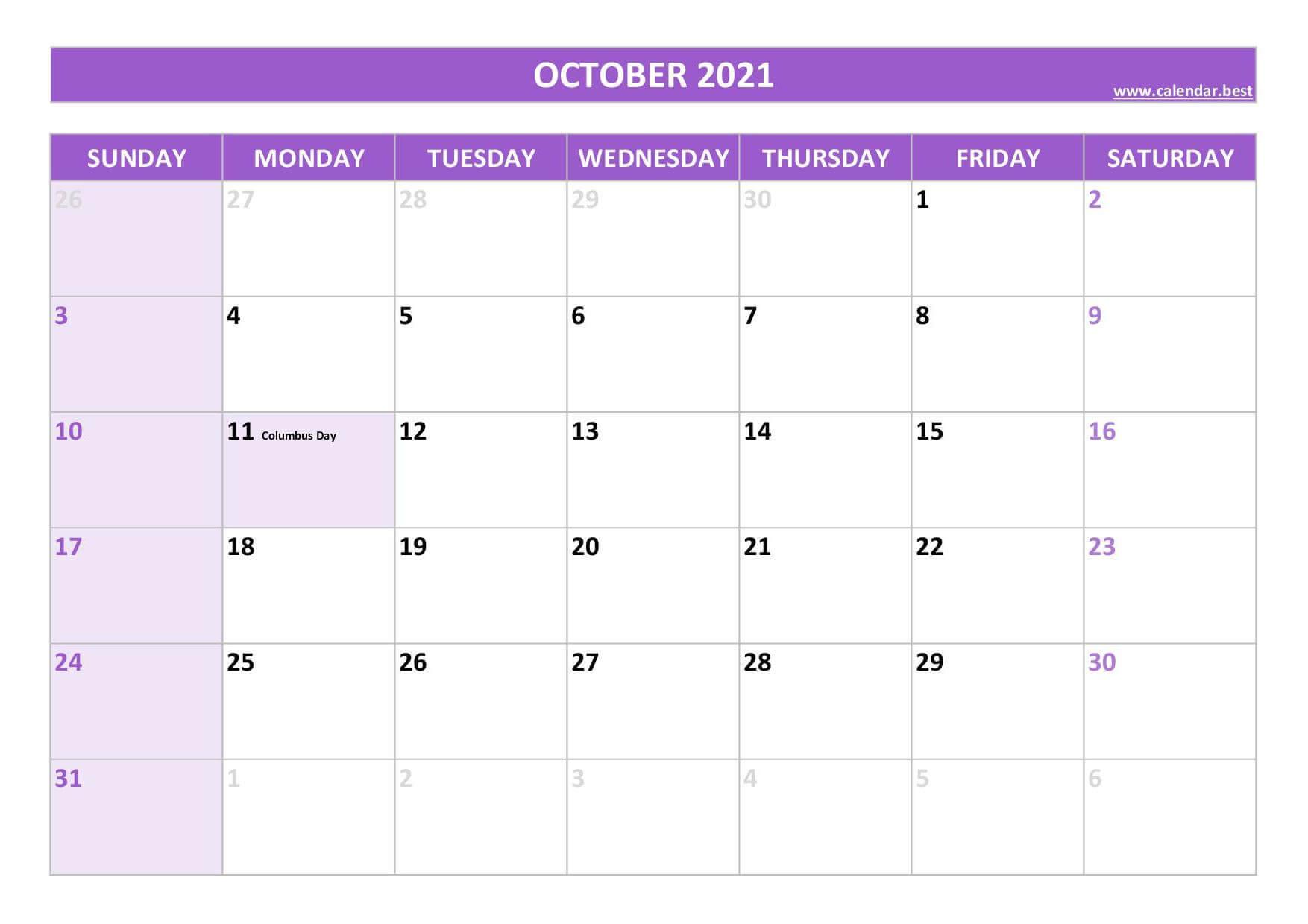 Print October 2021 Calendar
