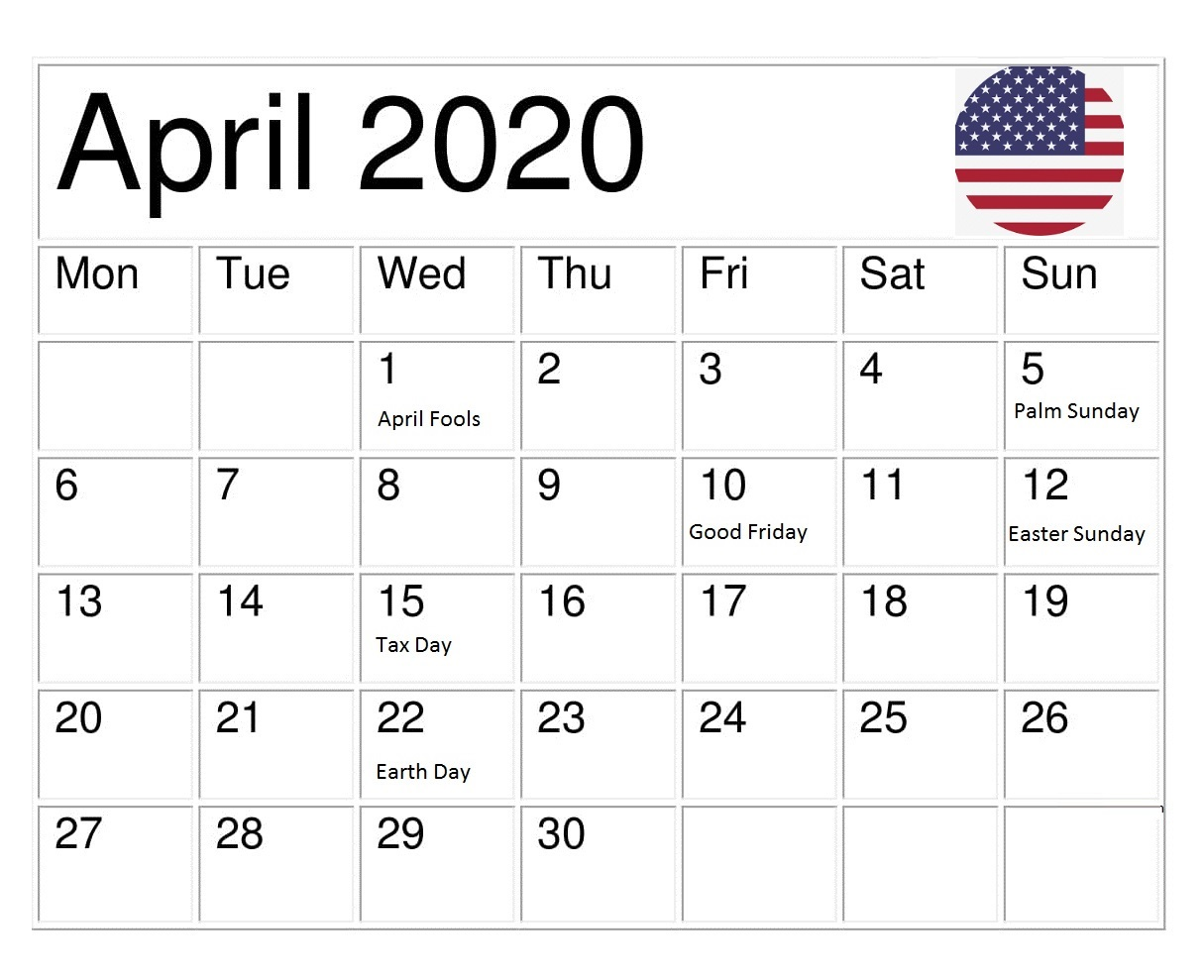 USA April 2020 Holidays Calendar