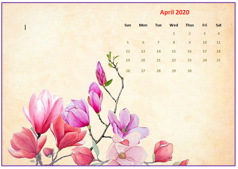 April 2020 Desktop Calendar Wallpaper