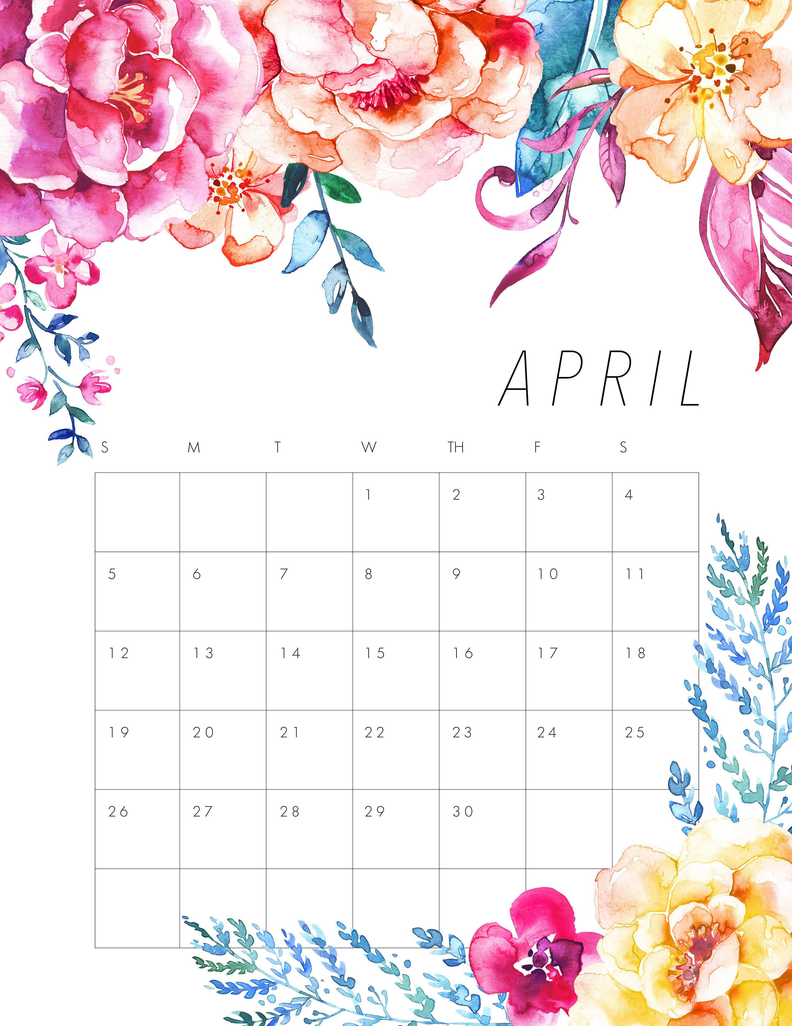April 2020 Floral Calendar Cute