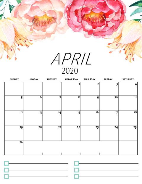 April 2020 Floral Desk Calendar