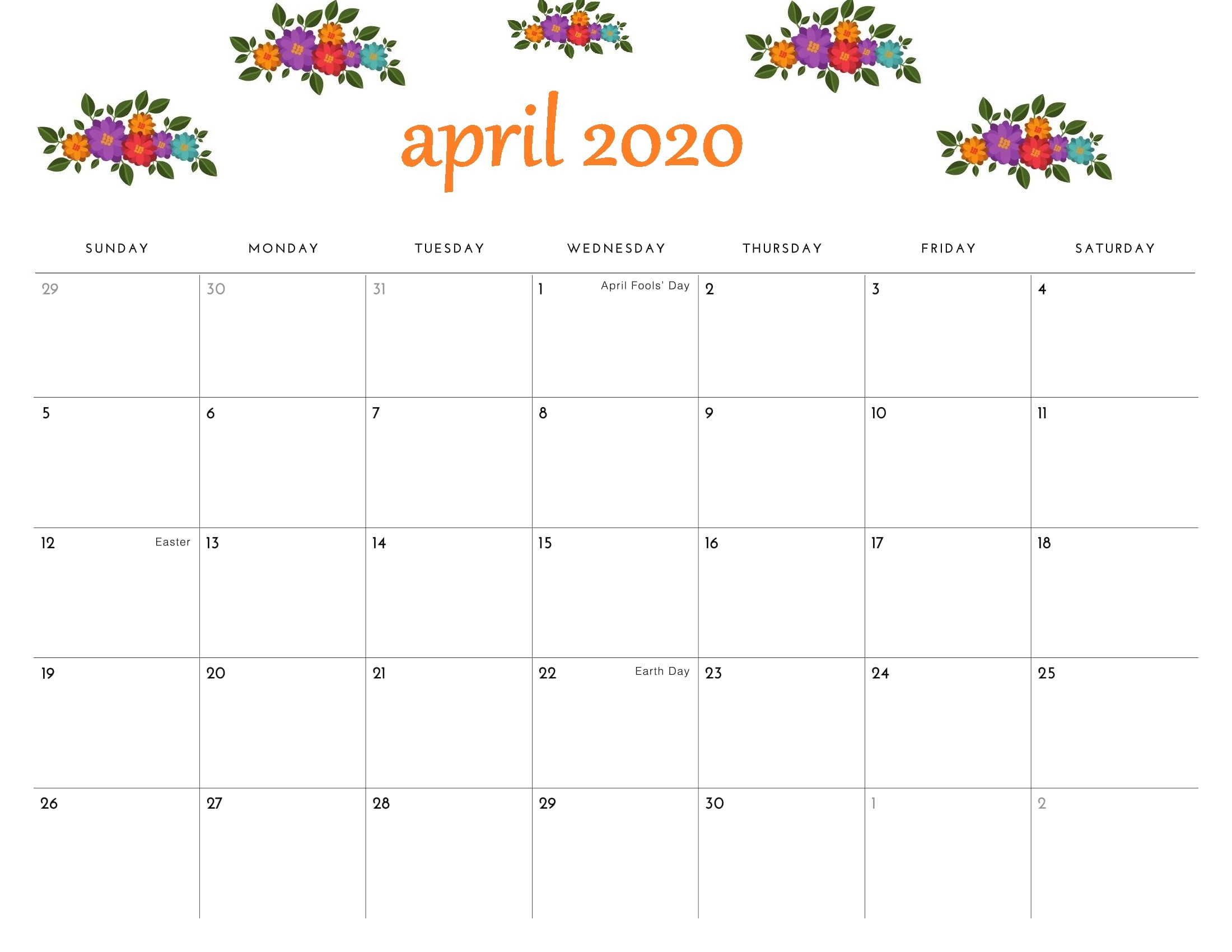 April 2020 Printable Calendar Floral Template