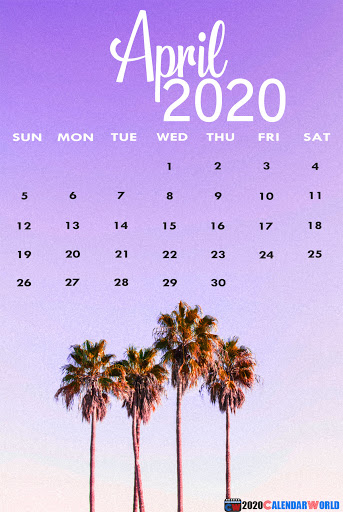 April 2020 iPhone Screensaver Calendar