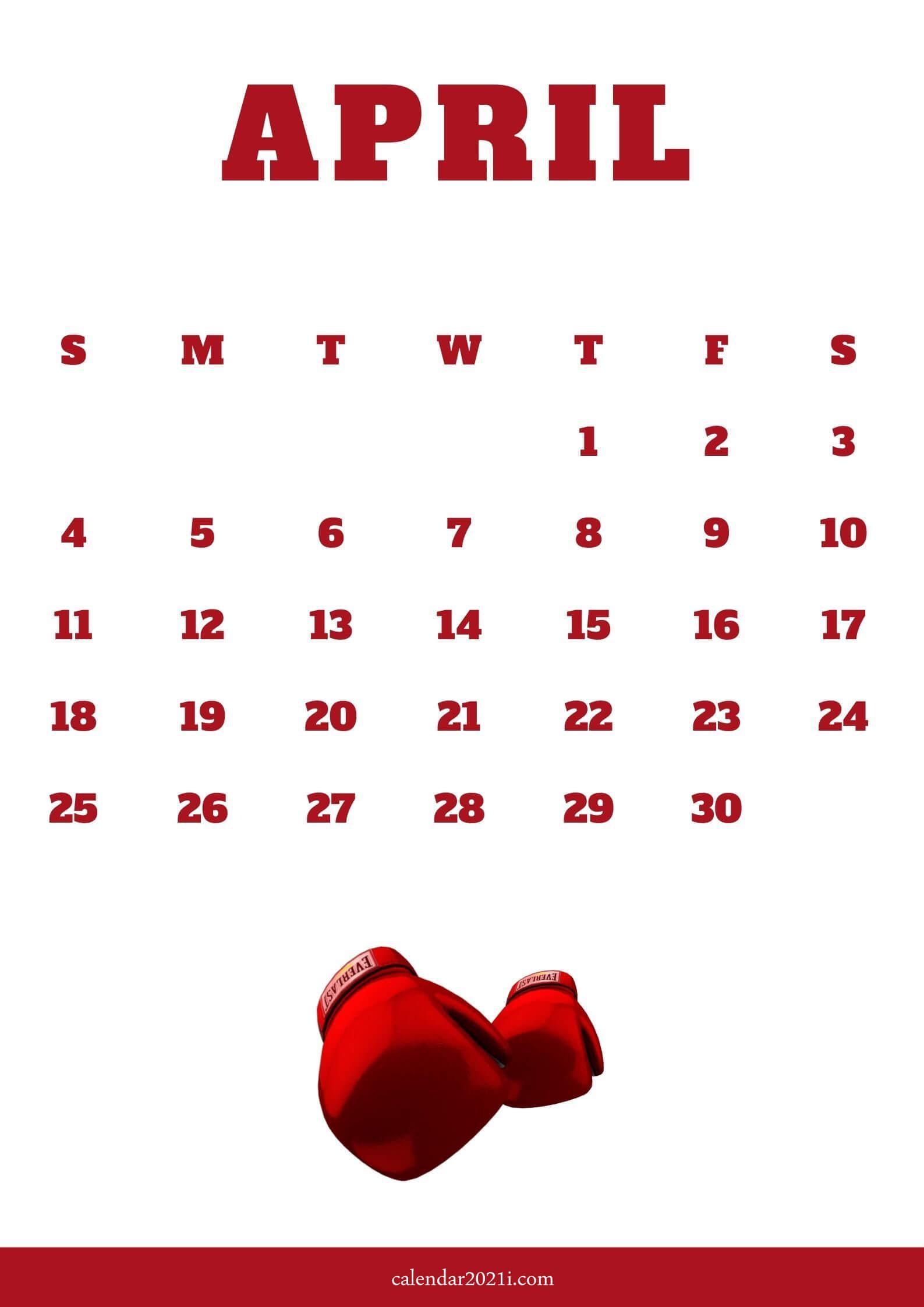 April 2021 iPhone Screensaver Calendar