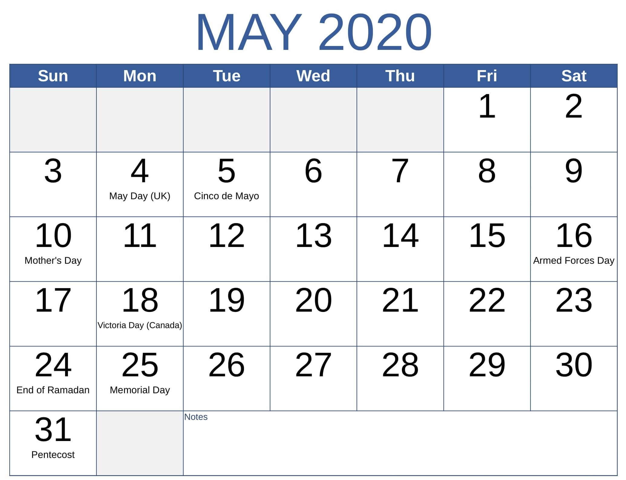 Calendar May 2020 With Holidays