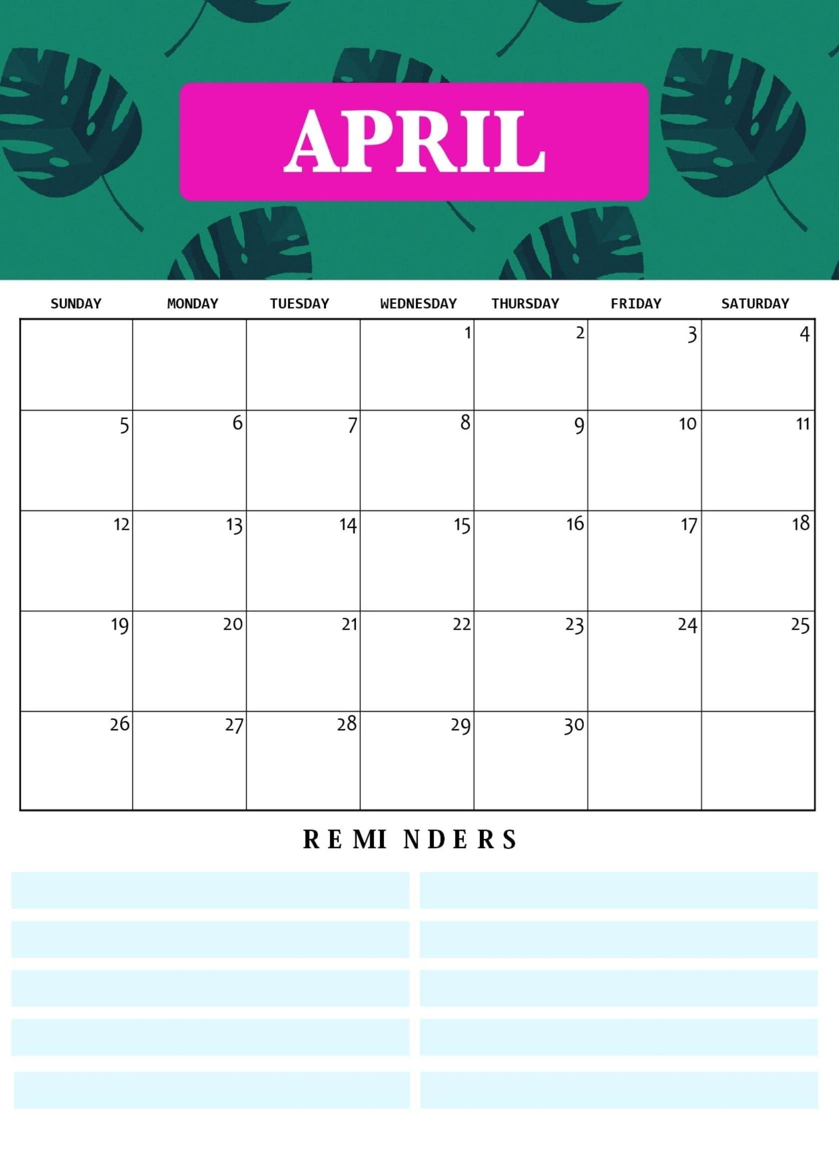 Cute April 2020 Calendar Design