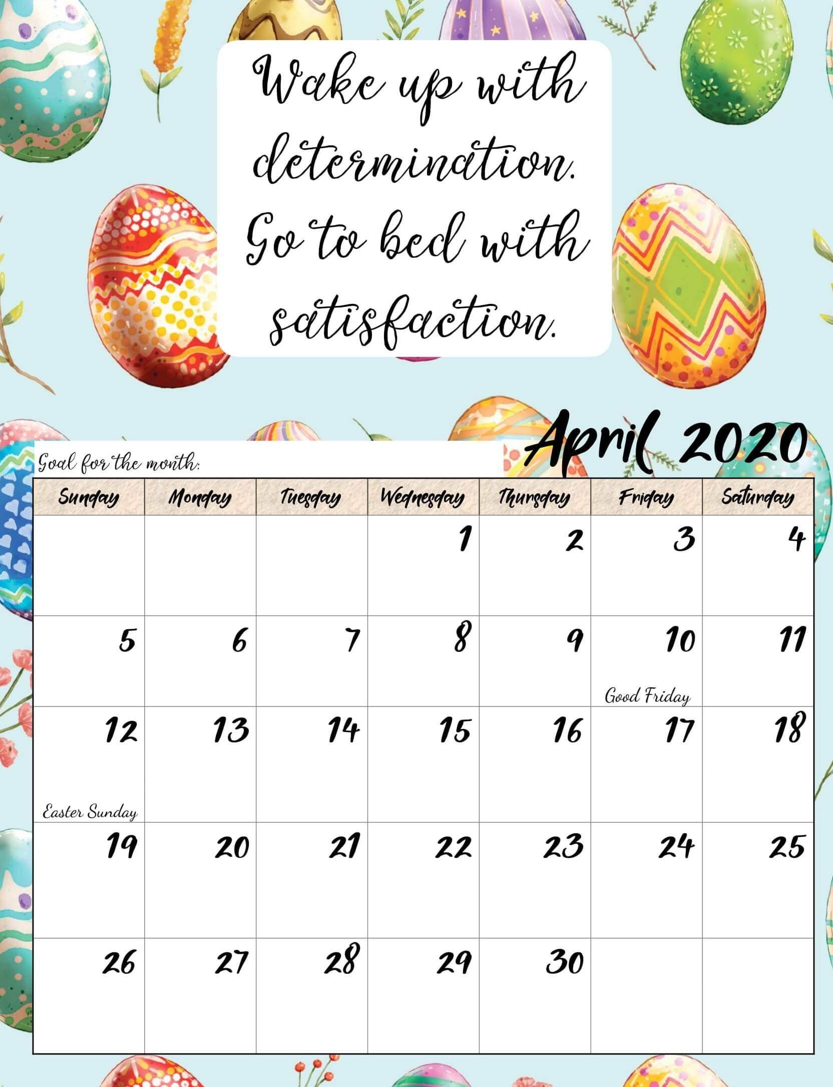 Cute April 2020 Calendar For Kids