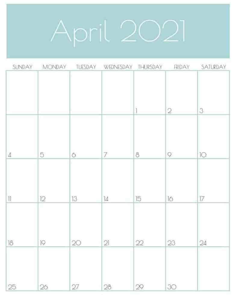 Cute April 2021 Calendar Cute
