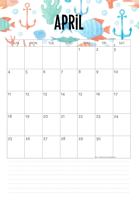 Cute April 2021 Calendar Design