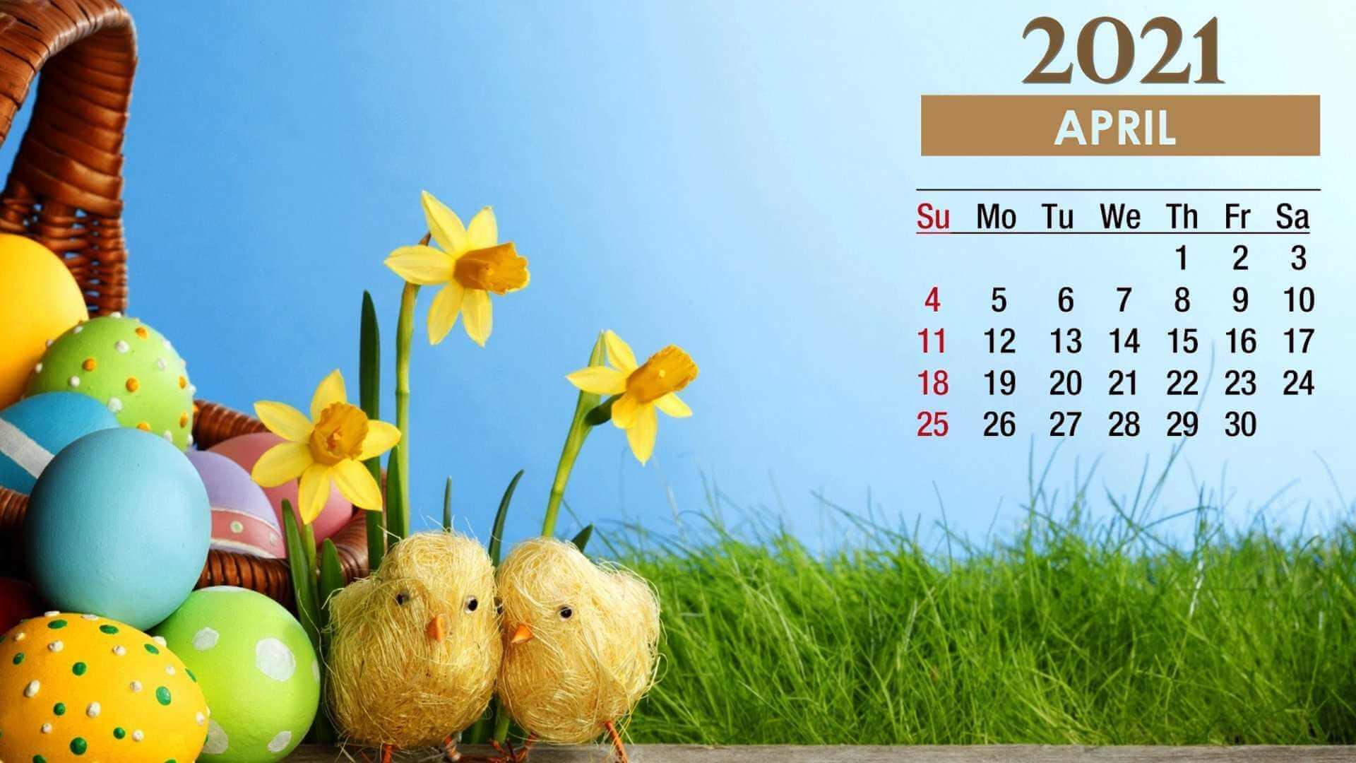 Cute April 2021 Calendar Wallpaper