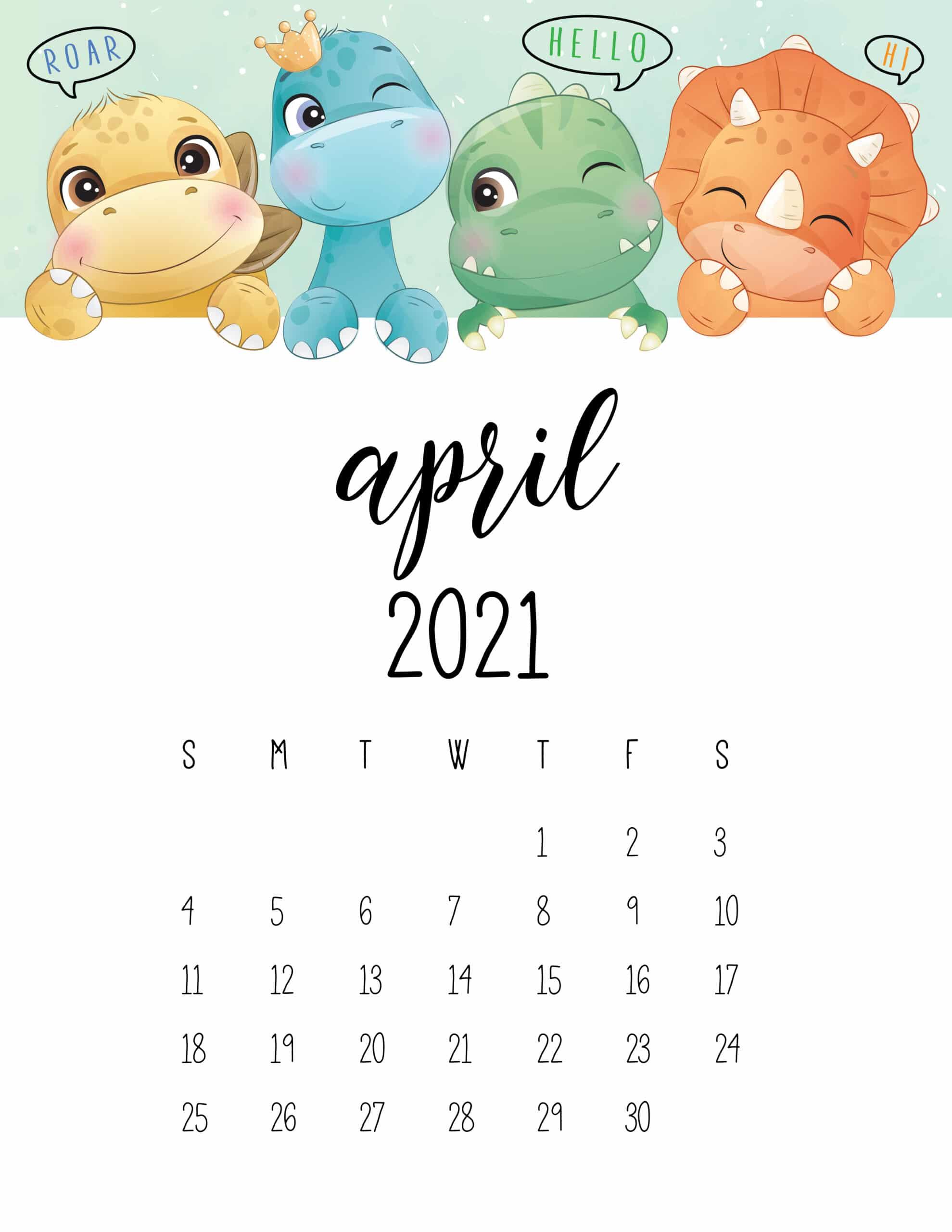 Cute April 2021 Calendar for Kids