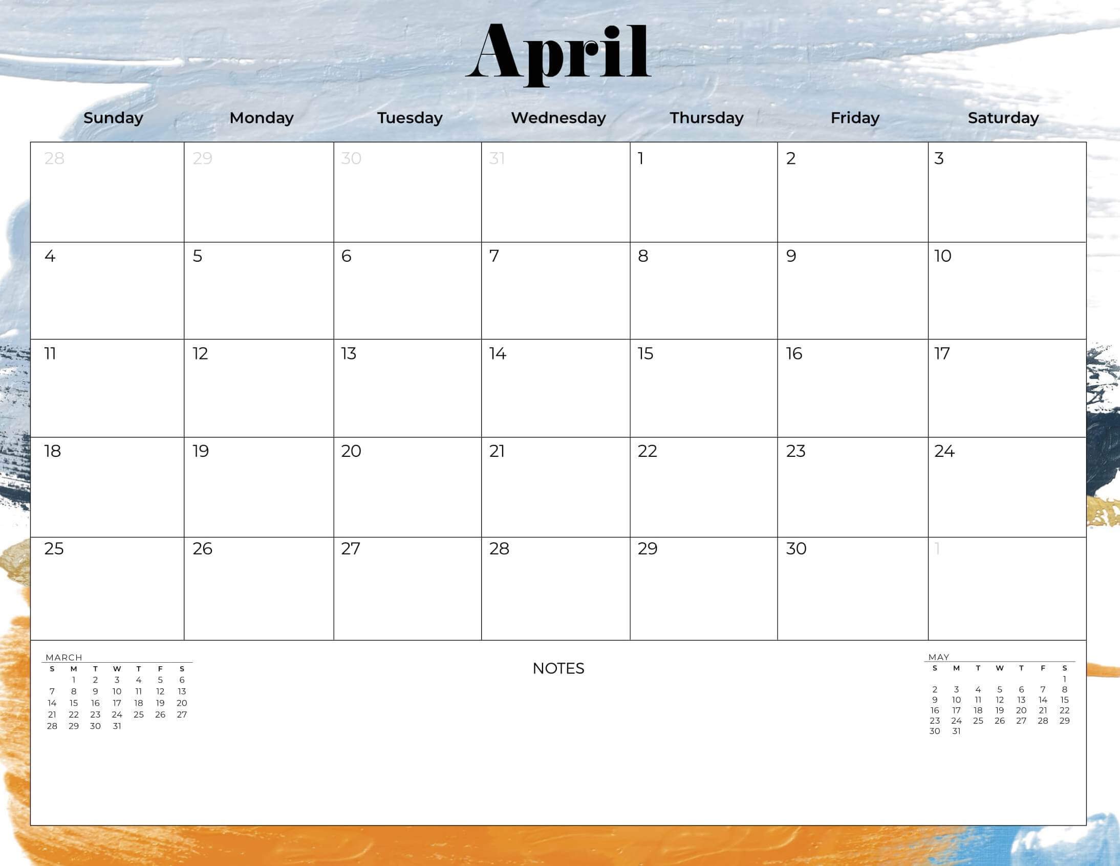 Cute April 2021 Calendar print
