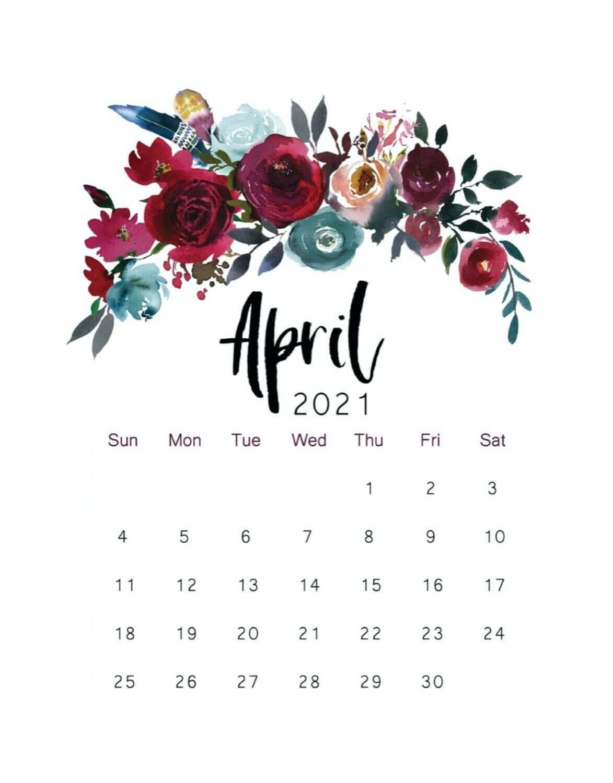 Cute April 2021 Floral Calendar