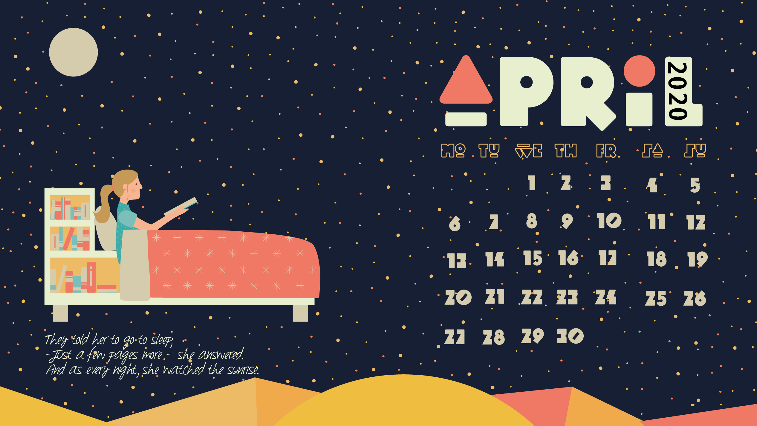 Desktop Calendar Wallpaper April 2020