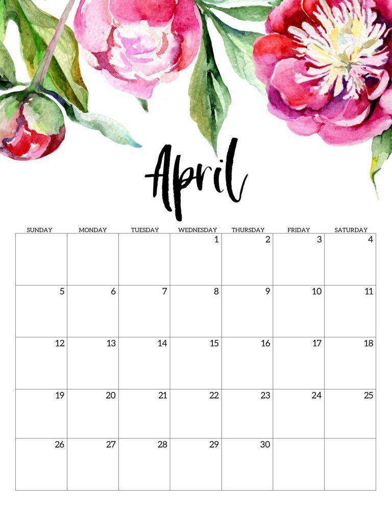 Floral April 2020 Calendar