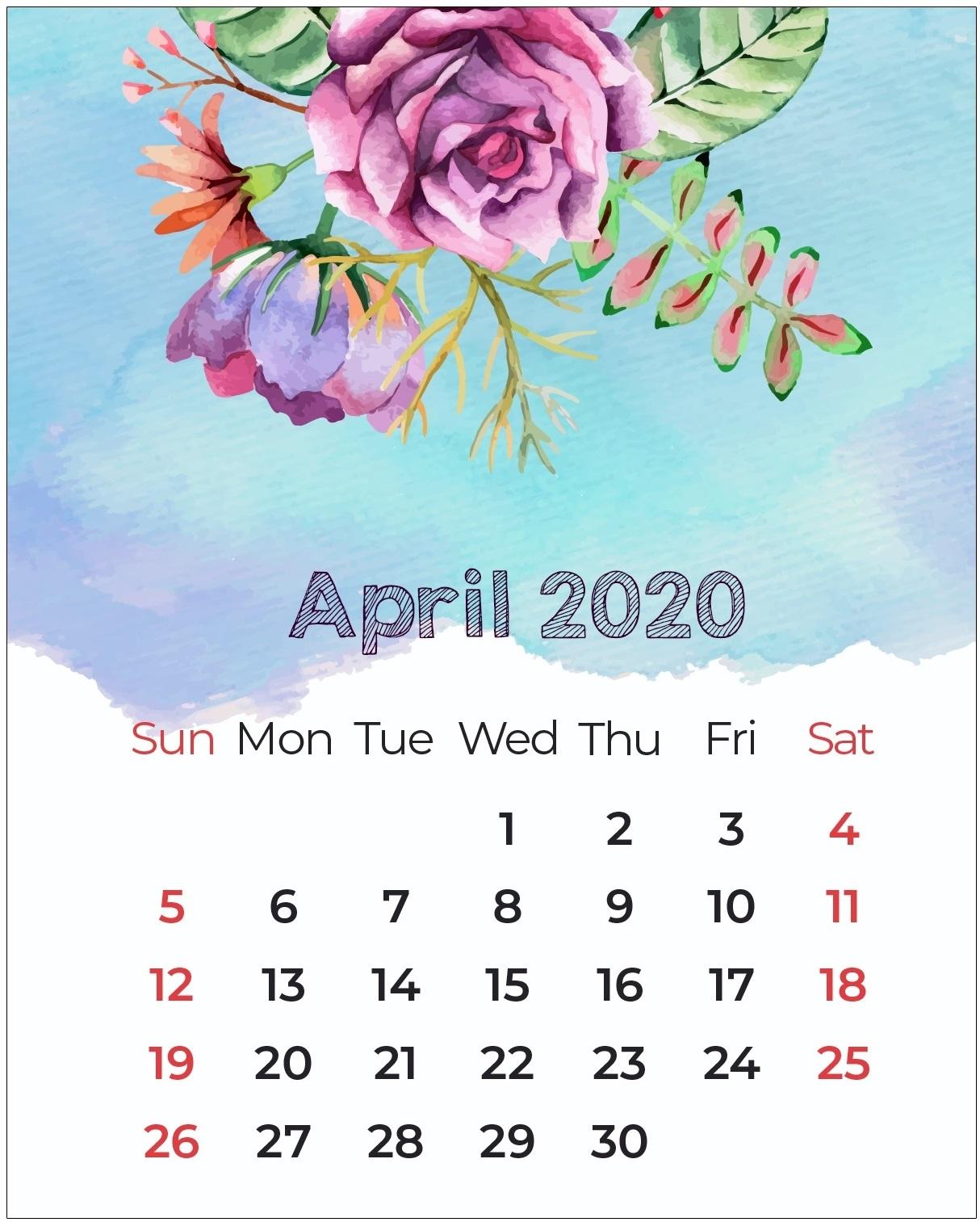 Floral April 2020 Wall Calendar Template