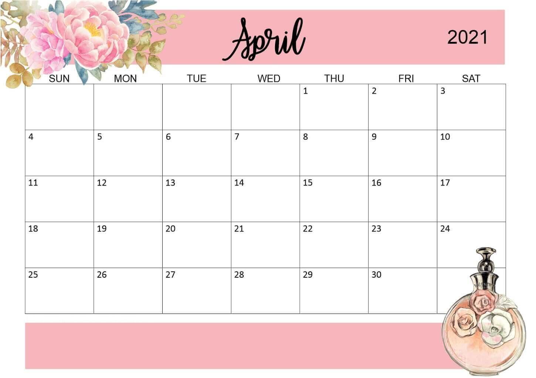 Floral April 2021 Calendar Printable