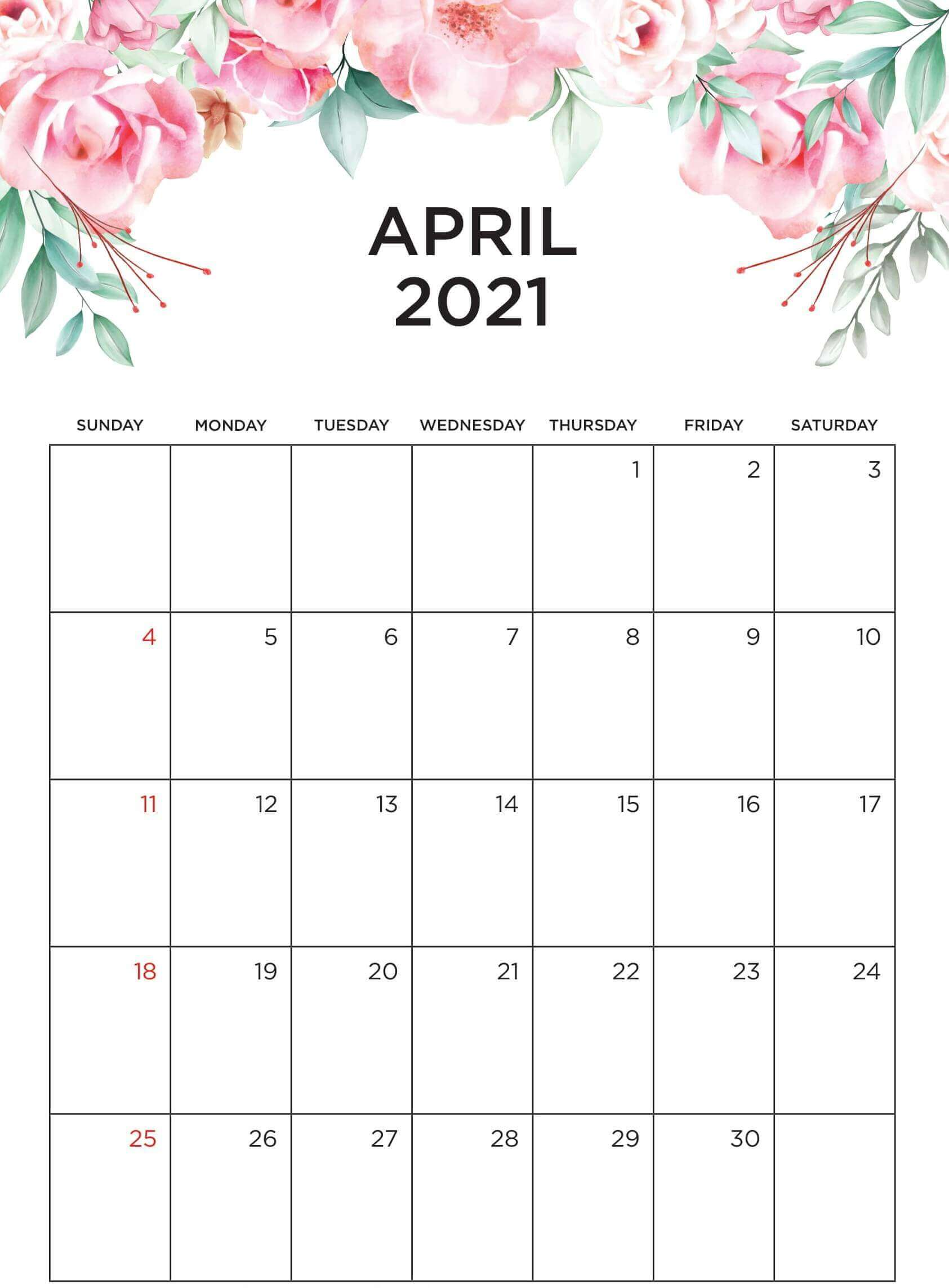 Floral April 2021 Calendar Template